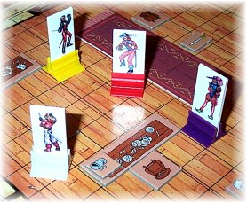 Cardboard Heroes, with bases, used in Swashbuckler